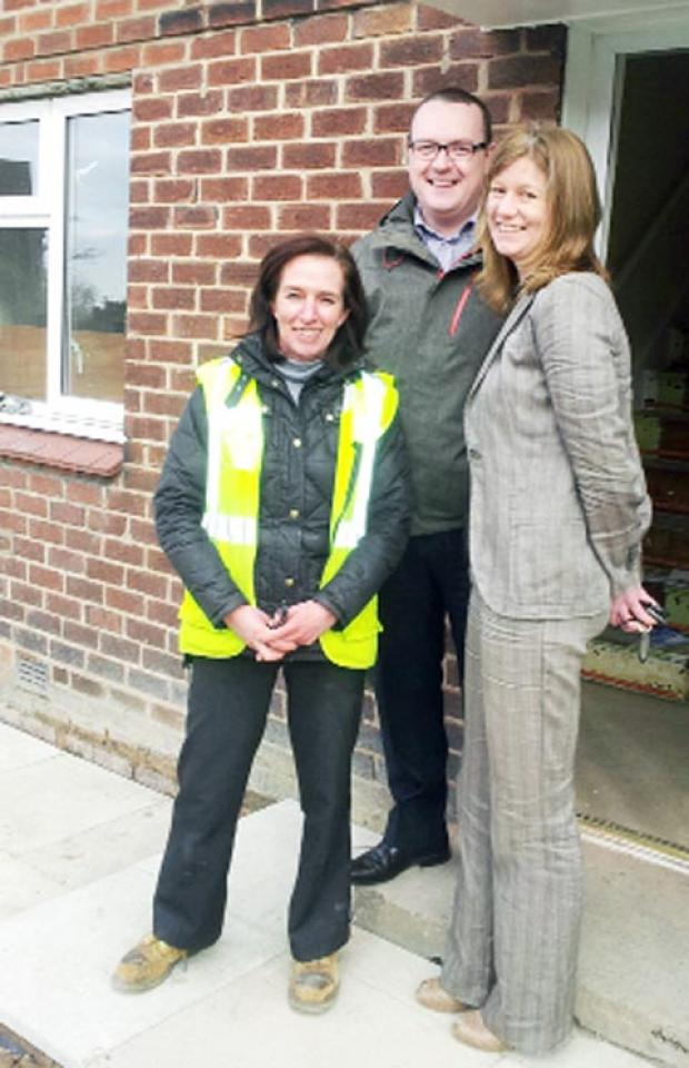 Forrest site manager Ginny Edinson, Mike Murphy, and project manager Adactus Housing Group Morna Harthan