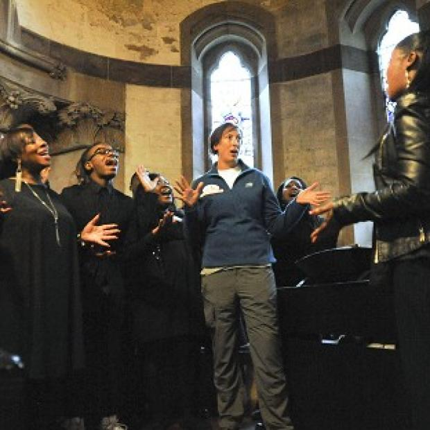 Miranda Hart, practices with the London Community Gospel Choir in Soho as she plans a wedding for Comic Relief