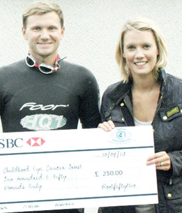 David Young receives a cheque from Kimberley Thompson, owner of RootFiftyTwo ahead of his challenge