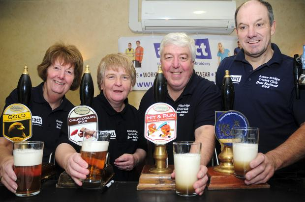 cheers From left,  Norma Robinson, Lesley Cryer, Barrie Cryer and John Roscoe serve the drinks the festival