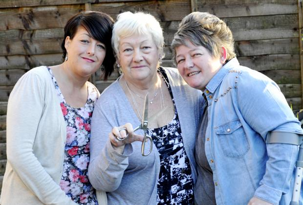 Sisters Tina Palfrey, left, and Kelly Derbyshire will have their heads shaved along with sister Kirsten in a show of support for their mother Theresa Derbyshire, centre