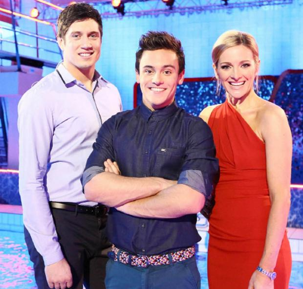 Splash! presenter Vernon Kay with co-hosts Tess Daley, his wife, and Olympic diver Tom Daley.