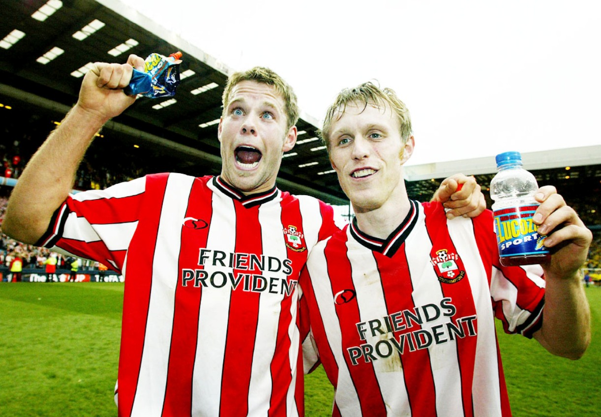 James Beattie with former Stanley striker Brett Ormerod during his Southampton days