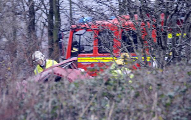 This Is Lancashire: The scene of the crash on the A666 St Peter's Way near Kearsley