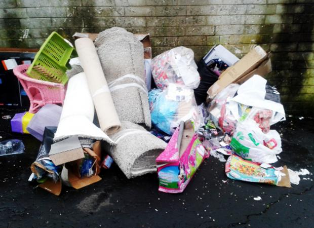 This Is Lancashire: Just some of the rubbish left in and around Douglas Place and Gretna Walk in Blackburn