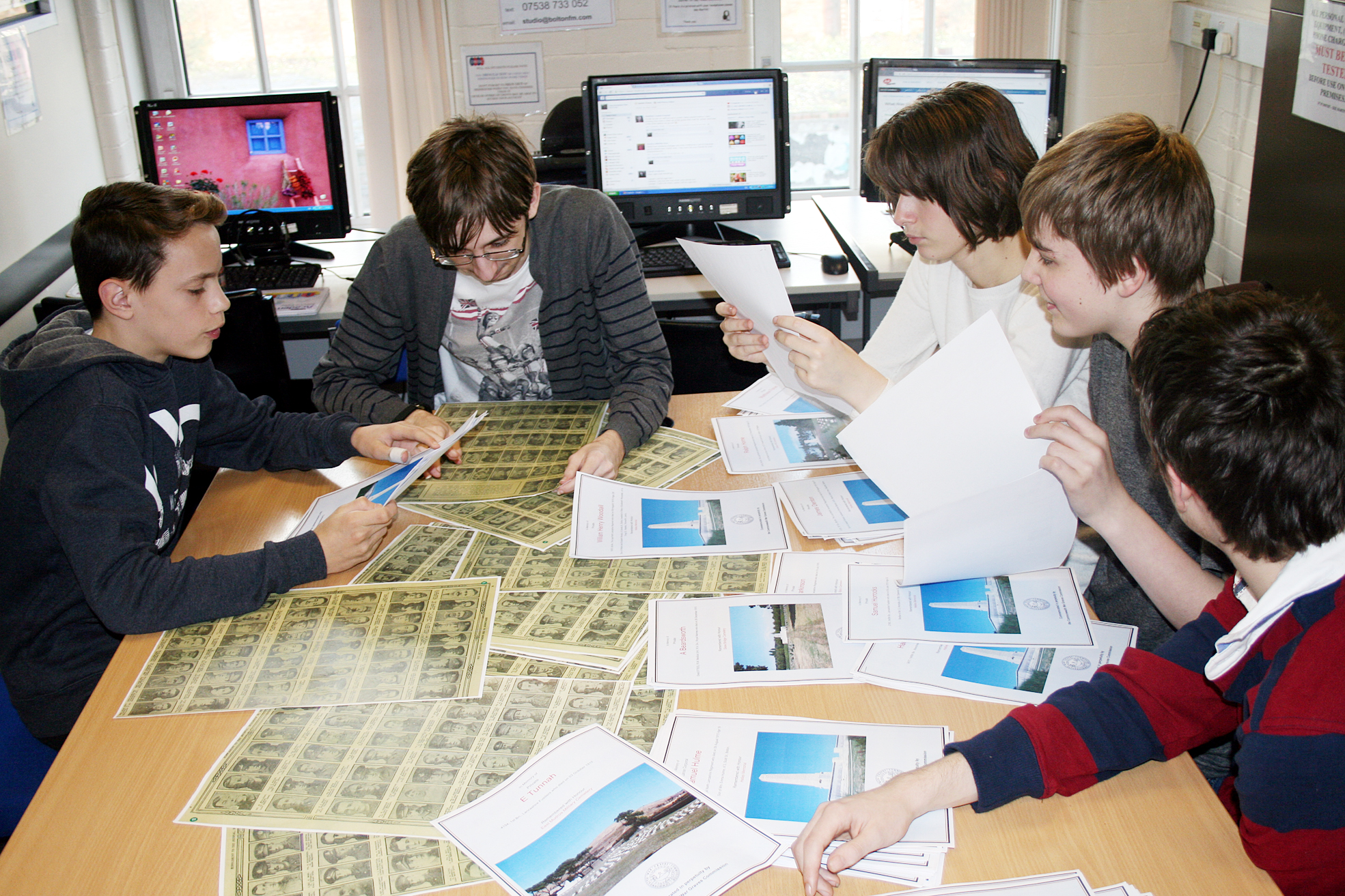 DBBC students researching for the Gallipoli project. From left, Liam Kempster, Nathan Foy, Kim Martindale, Brandon Wright, Alex Taylor