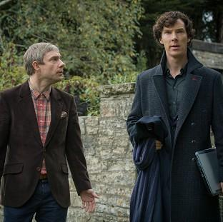 Martin Freeman and Benedict Cumberbatch in the final episode of Sherlock season three