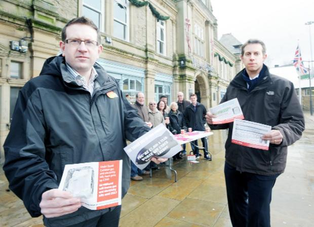 Andrew Gwynne (left) with Will Straw and the team on the streets of Darwen to attract attention to alleged Tory policy failures.