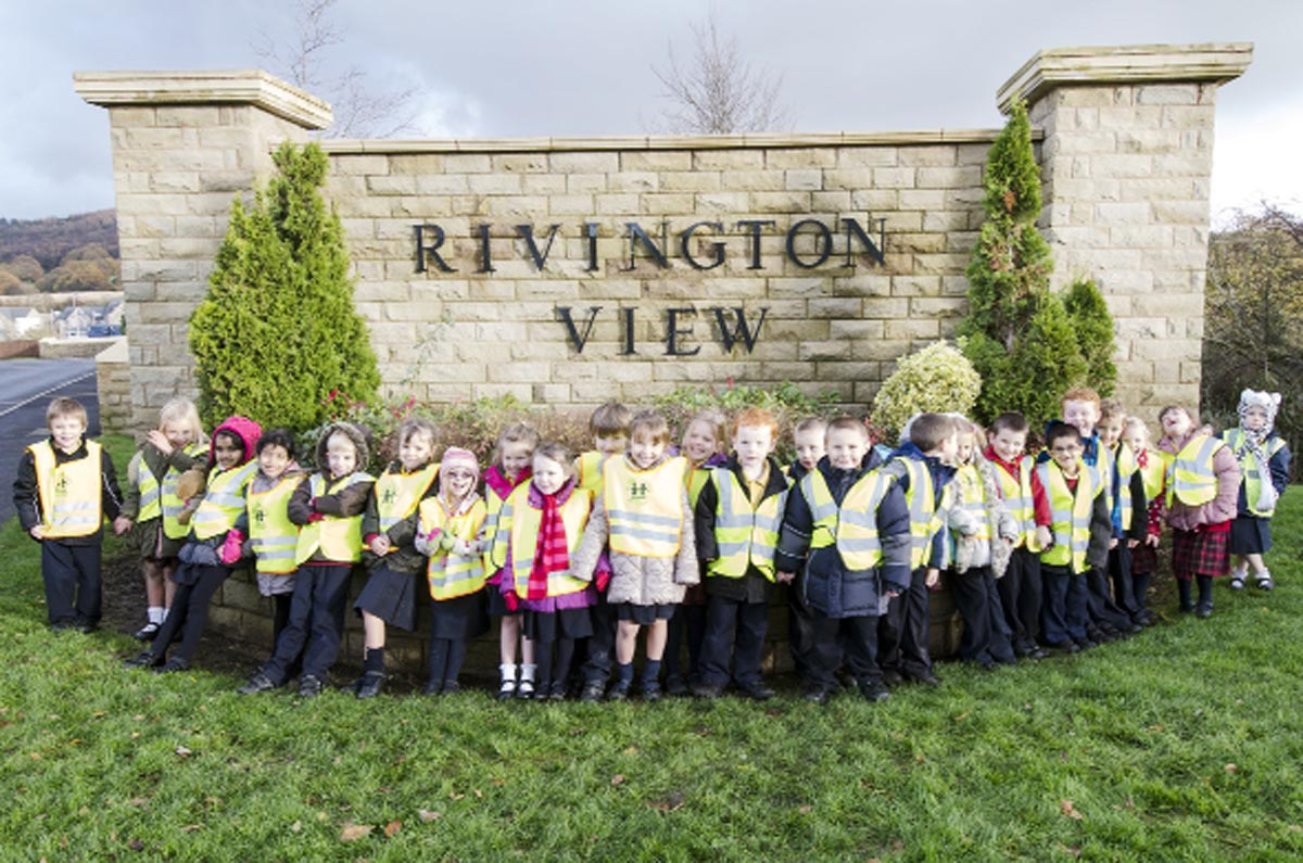 ON TIME: Year 1 pupils at St James Primary School,  Devonport Way, Chorley, who buried the capsule
