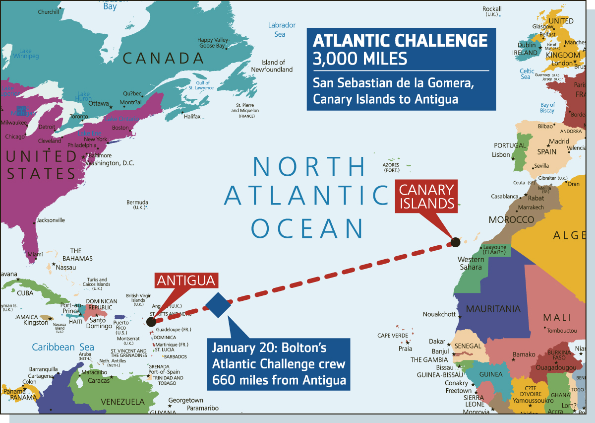 This Is Lancashire: A map of the Bolton Atlantic Challenge crew's progress