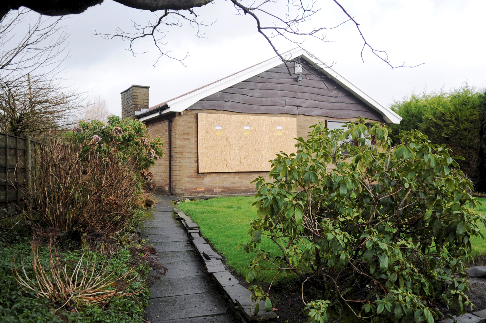The burgled bungalow in Foster Lane, Breightmet