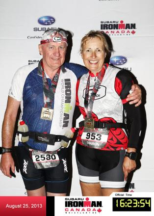 Tony Lonergan and wife Sharon who took part in last year's Ironman in Canada