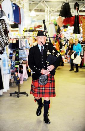Tony Bolton in action during Burns Night celebrations in Blackburn Market