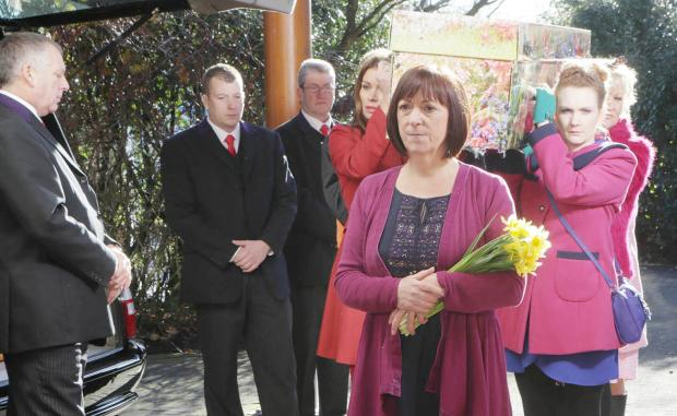 This Is Lancashire: A scene from Hayley Cropper's funeral service being screened tonight
