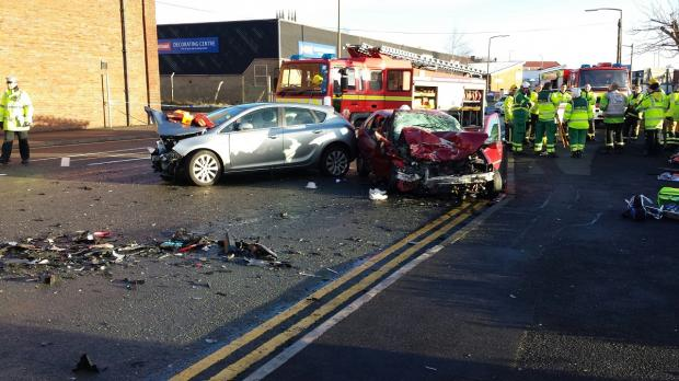 The scene of the crash in Bridgeman Street, Bolton