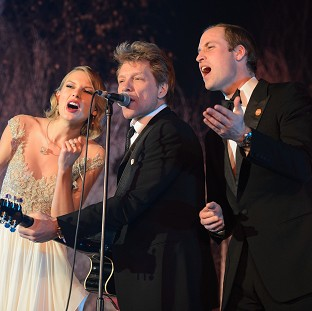 The Duke of Cambridge singing with Taylor Swift and Jon Bon Jovi
