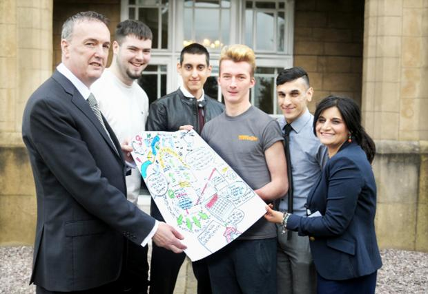Police and Crime Commissioner Clive Grunshaw (left) and Assistant Commissioner Saima Afzal with young leaders Josh Hatch, Mo Sheikh, Ryan McDermott and Sam Ali