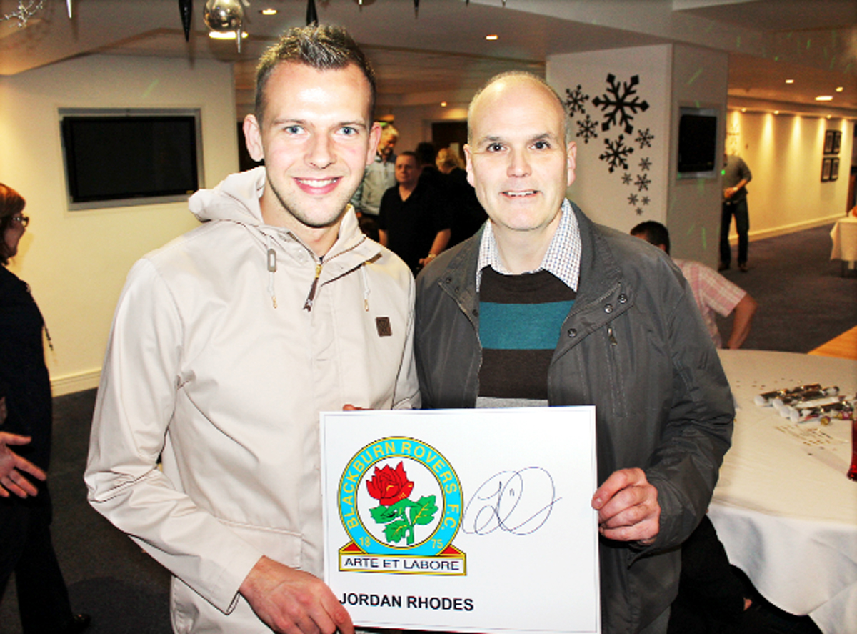 John Whyche, right, with Rovers striker Jordan Rhodes