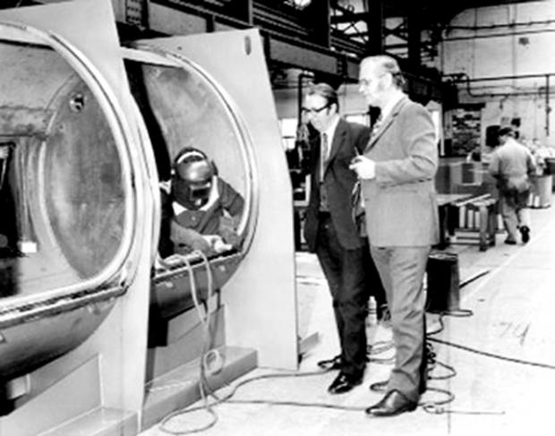 This Is Lancashire: An 800lb washer extractor being made at Cherry Tree in 1974
