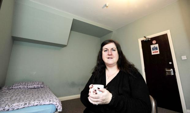 This Is Lancashire: Maura Jackson in the accommodation for the homeless