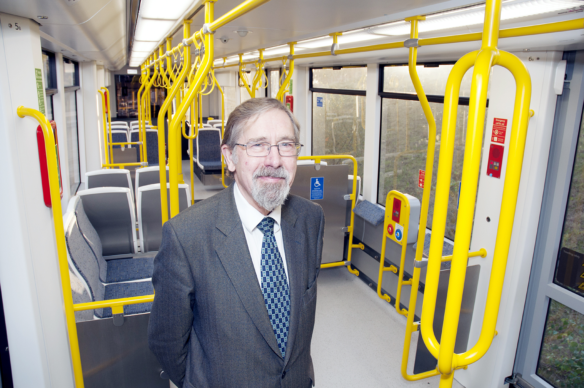 Councillor Andrew Fender on one of the new-style Metrolink trams