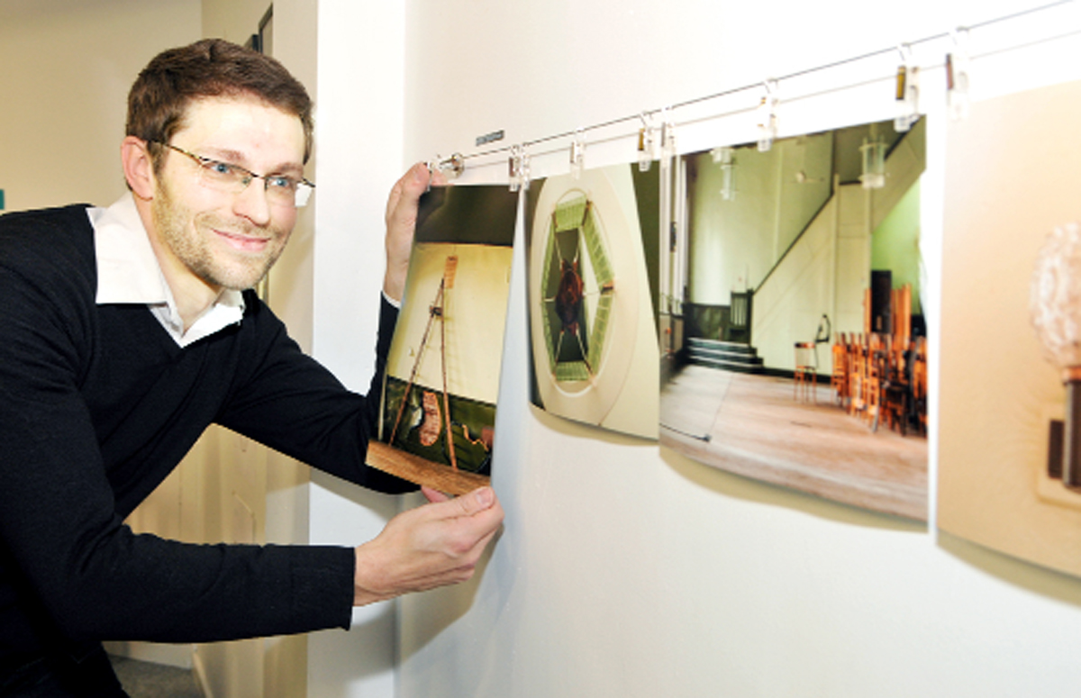 A flashback to artist Richard Tymon displaying his work in the 'Blackburn is Open' shop