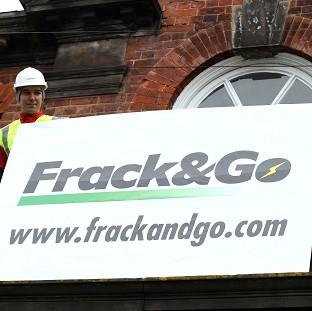 Greenpeace campaigners protest against fracking