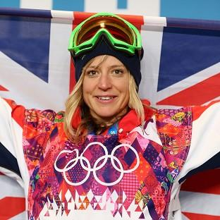 This Is Lancashire: Great Britain's Jenny Jones celebrates winning bronze during a press conference following the Women's Snowboard Slopestyle Final.