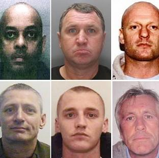 This Is Lancashire: Crimestoppers photo of (top row, left to right) Rezgar Zengana, Mark Liscott, Robert Stephen Gerrard, Mark Anthony Fitzgibbon, (bottom row, left to right) Michael Paul Moogan, Liam Fynes, Thomas Tooth and James Nicholas Tarrant, who are thought to be hidi