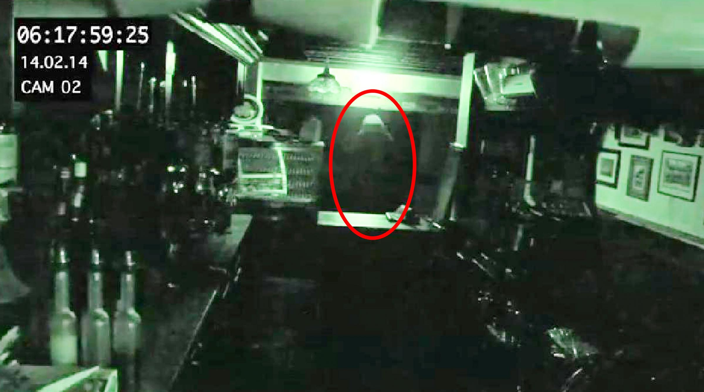 CCTV showing the 'ghost' at Ye Olde Man & Scythe