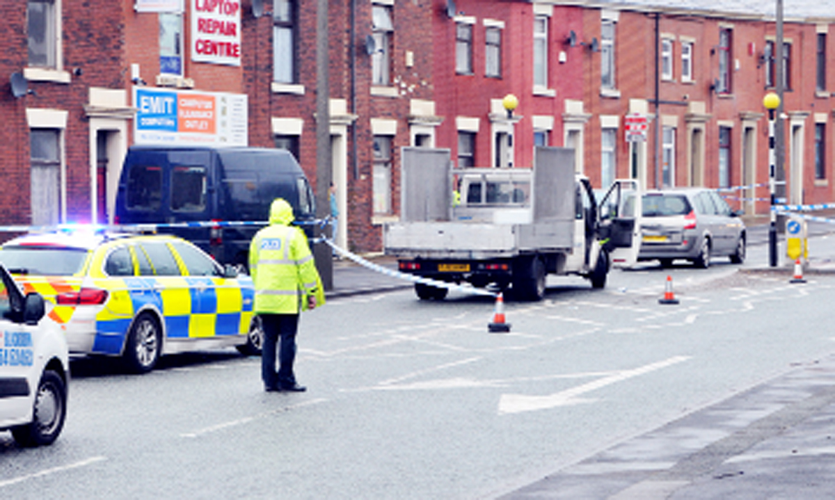 The scene of the accident in Burnley Road, Blackburn
