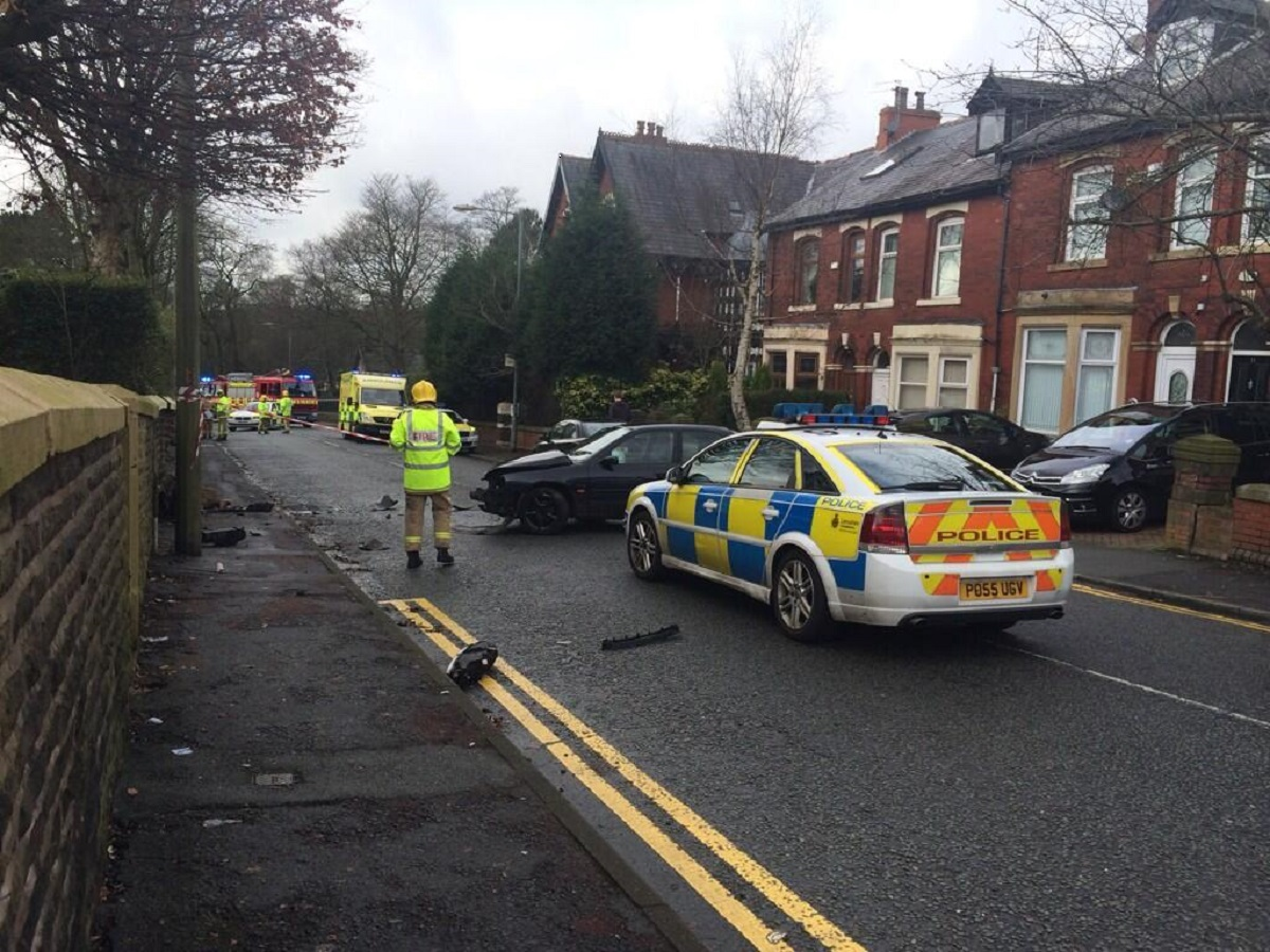 A car crashed into a gas main in East Park Road Blackburn this morning