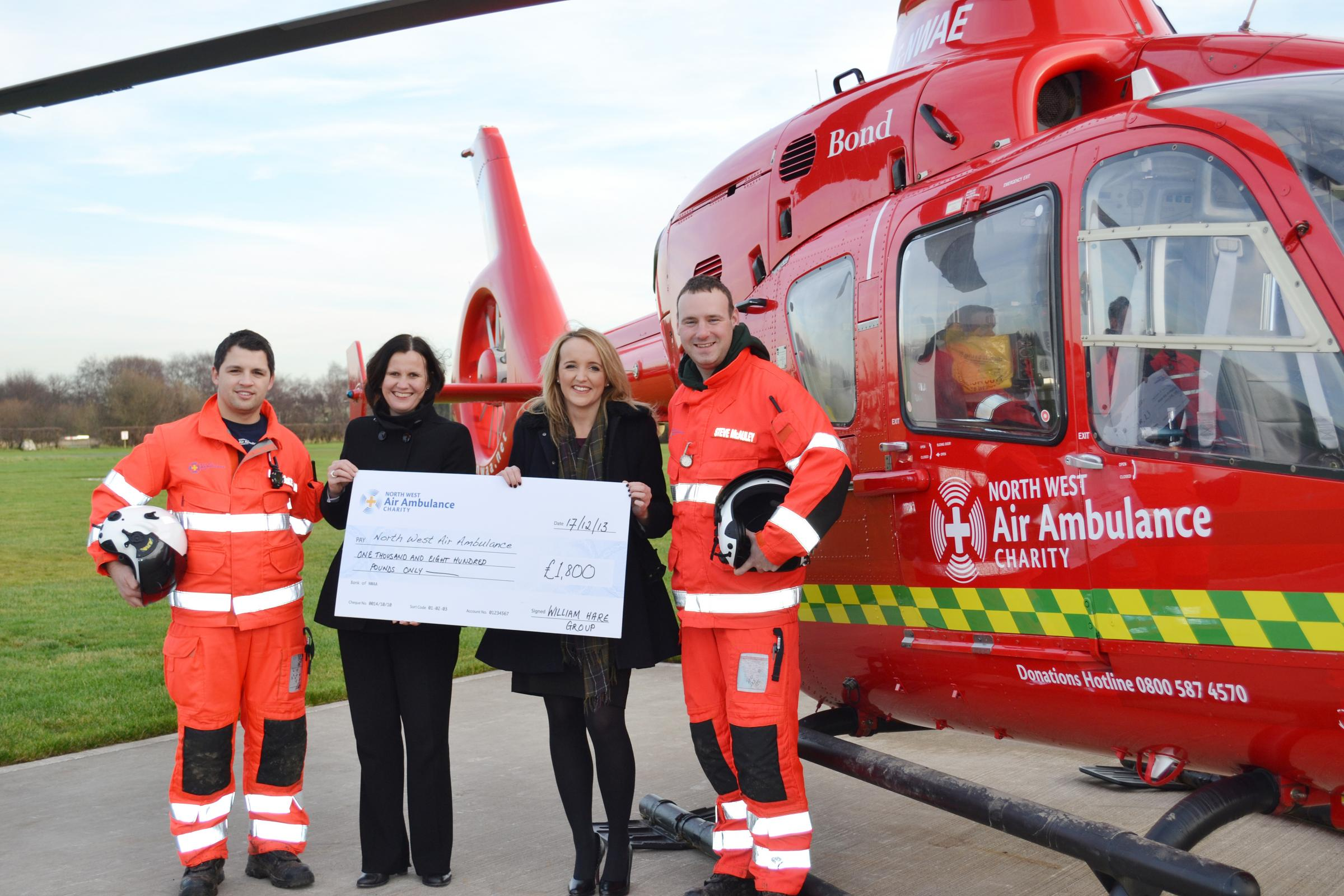 From left, Luke McKenna, Judith Watts, Gemma Torkington and Steve McCauley of the North West Air Ambulance charity