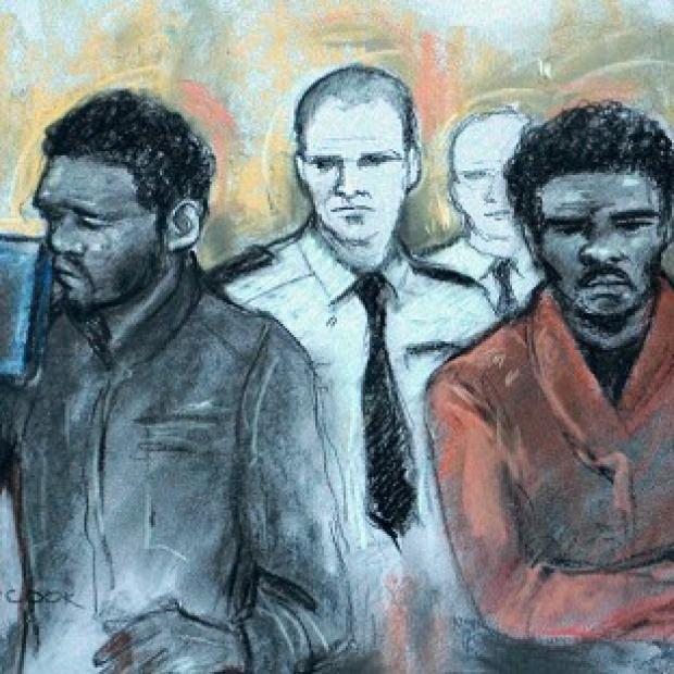 This Is Lancashire: Court artist sketch by Elizabeth Cook of Michael Adebowale and Michael Adebolajo as they were found guilty of the murder of Fusilier Lee Rigby.