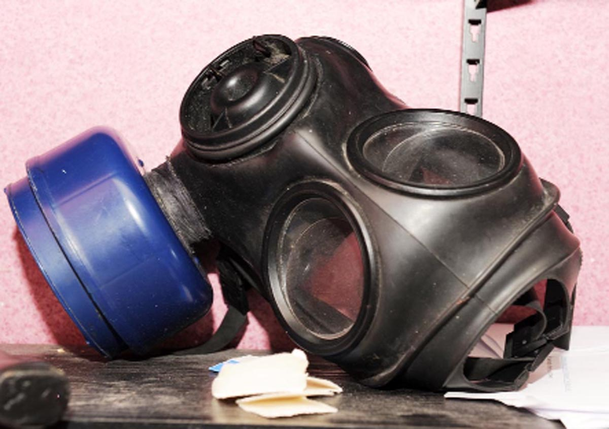 A gas mask, found at Timothy Rookledge's house