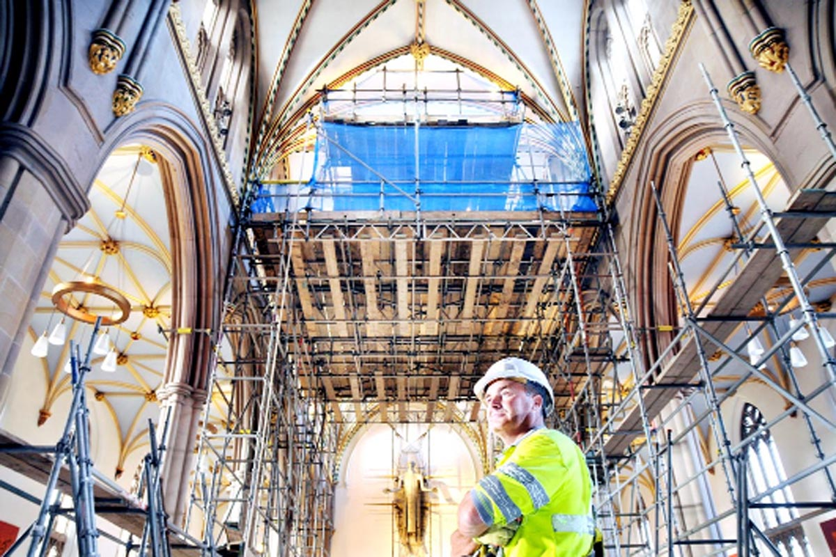 Blackburn Cathedral ceiling gets a facelift