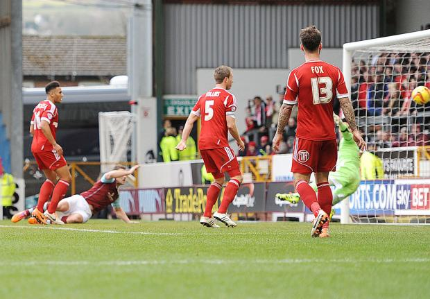 Sam Vokes scores his first against Forest
