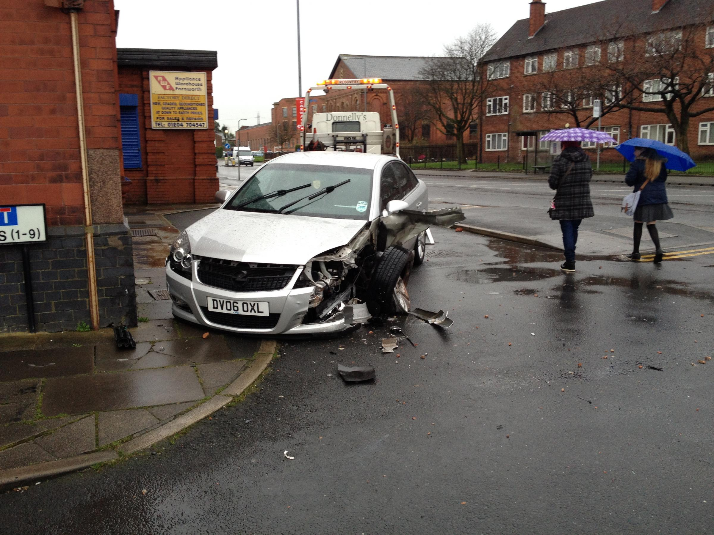 Car crashes into Farnworth Lidl after driver falls ill at wheel
