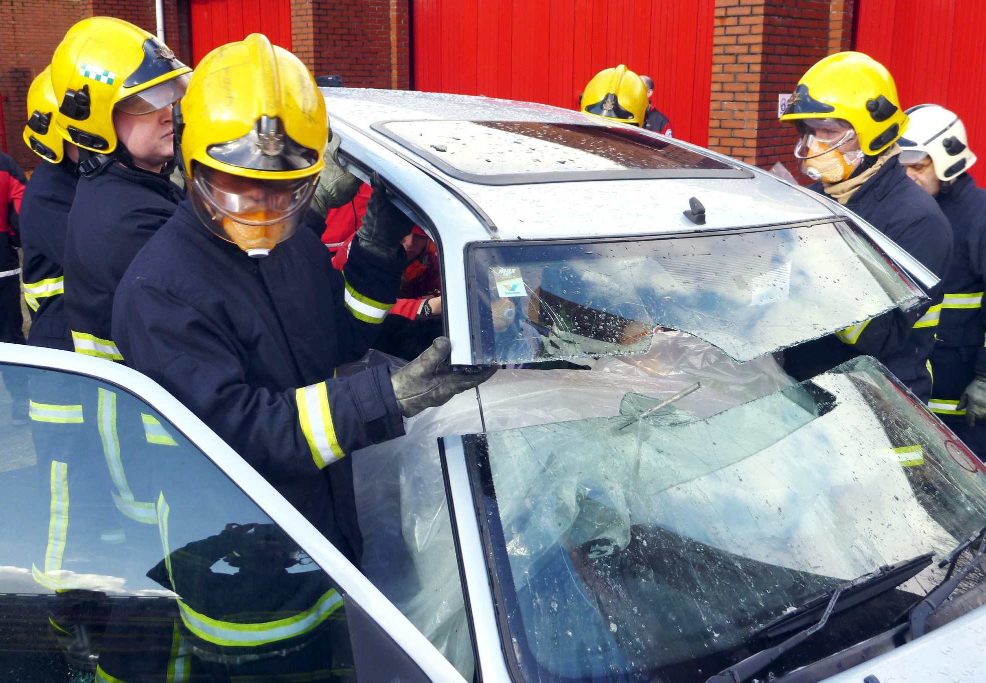 Motorists simulate being impaled in gruesome fire service training exercise