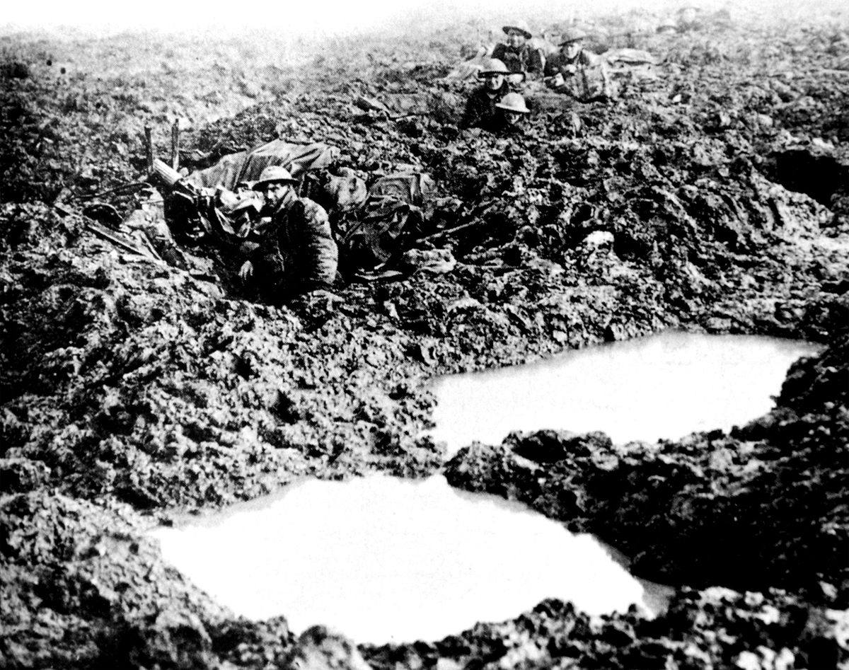 Troops in the muddy trenches of Passchendaele