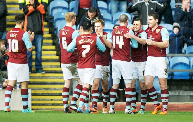 Burnley celebrate their win over Derby