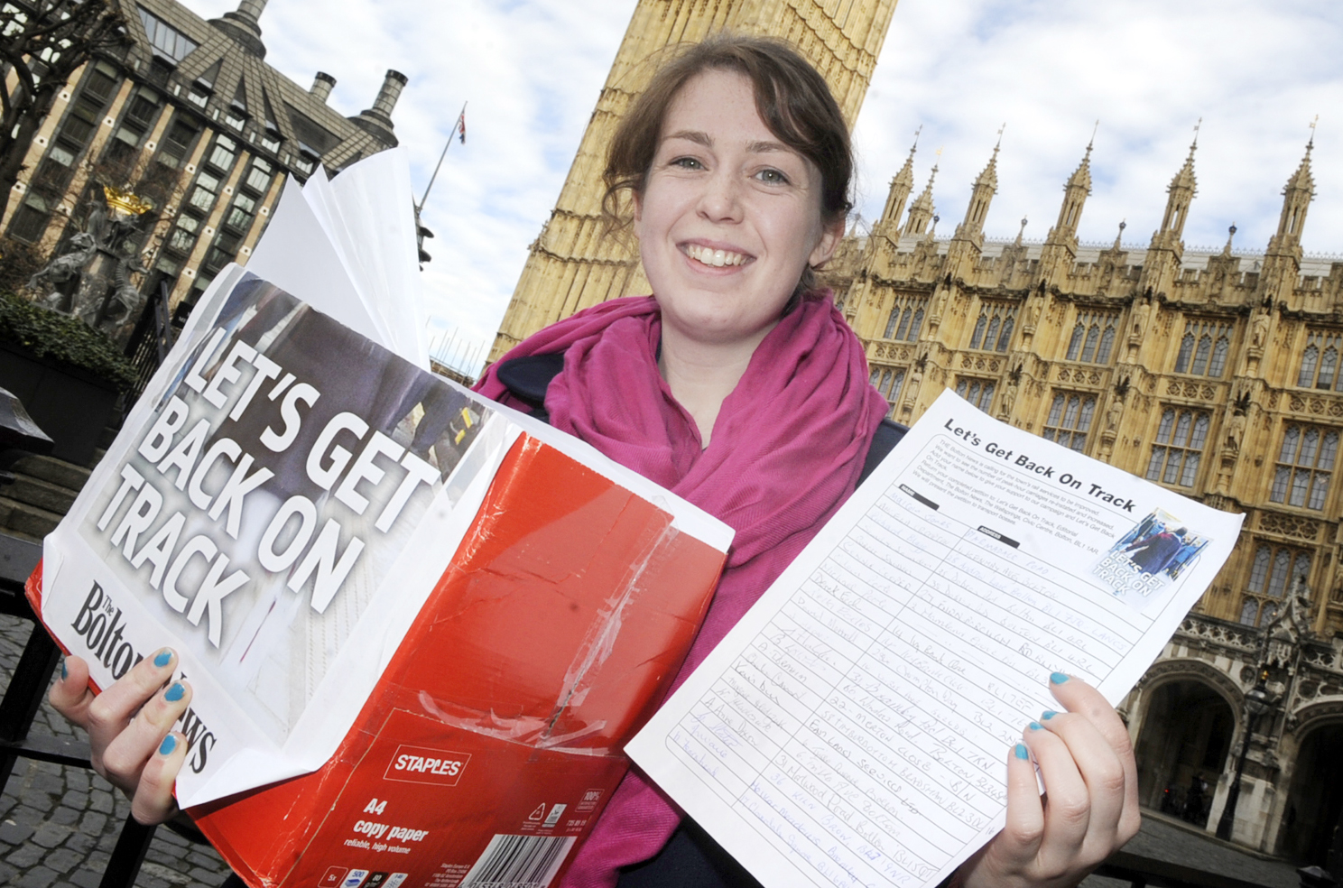 This Is Lancashire: Elaine O'Flynn outside the Houses of Parliament