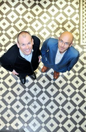 Andrew Graham, of Graham and Brown Wallpaper, and Wayne Hemingway at the Blackburn is Open launch o