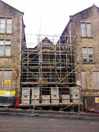 Scaffolding up at the site
