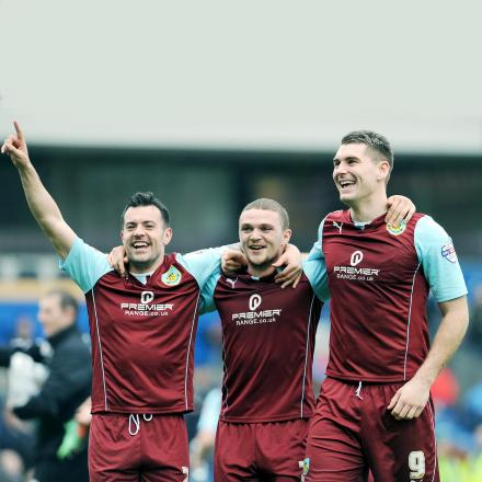 Burnley celebrate victory at Ewood Park
