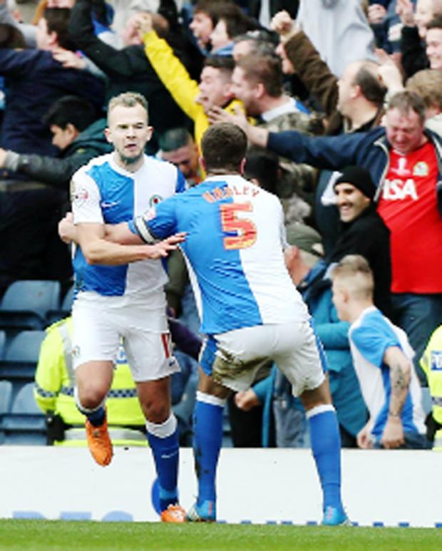 This Is Lancashire: Jordan Rhodes celebrates his derby opener