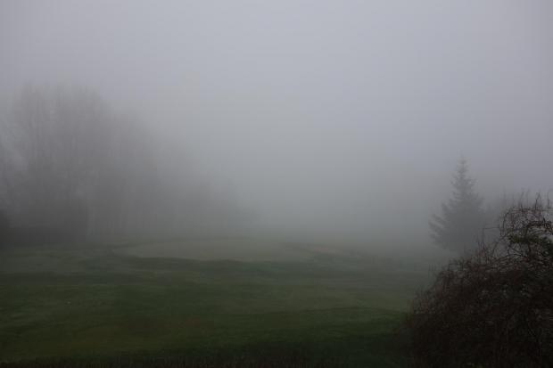This Is Lancashire: Fog over Whitefield Golf Course this morning