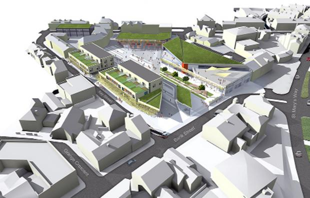 An artist's impression of the plans with the grassed roofs, and open spaces,