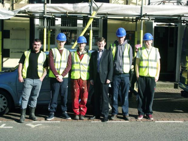 Councillor Peter Wilson, Deputy Leader of Chorley Council (centre) with site supervisor Shane Burns and trainees, Darrell Davies, 21, Jack Croft, 19, Shane Lynch, 24 and Jordan Fox, 20