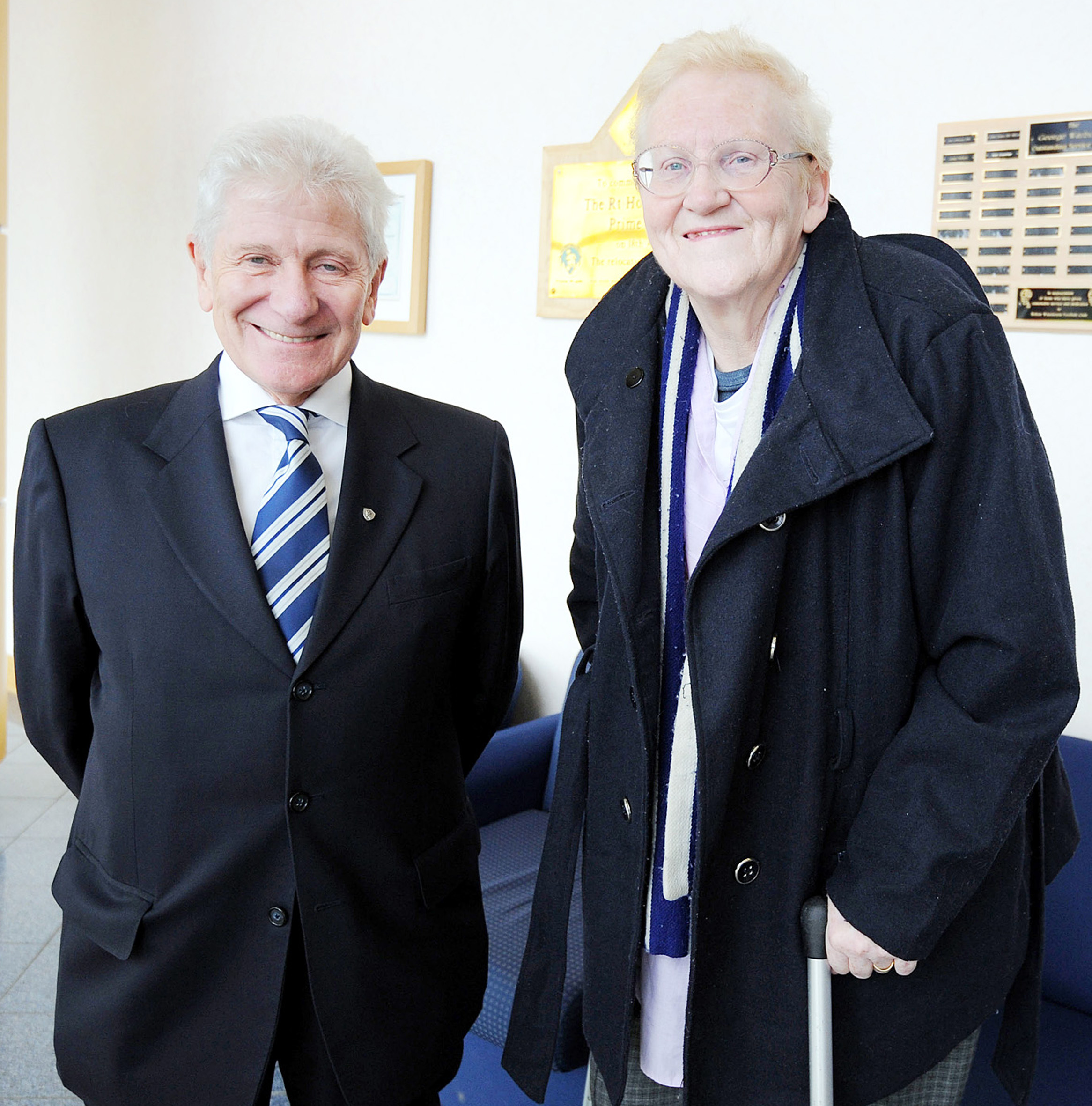 Whites fan Ruth Cranshaw with Wanderers' owner Eddie Davies